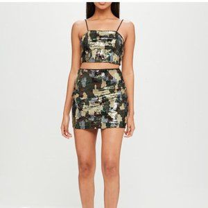 Carli Bybel x Missguided Sequin Camo Skirt Set